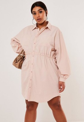 Missguided Plus Size Pink Gathered Waist Shirt Dress