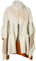 Chloé Off White Shearling Patchwork Cape