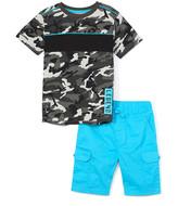 Blac Label Boys' Active Shorts GREY - Gray Camo Color Block 'Legend' Tee & Turquoise Cargo Shorts - Toddler & Boys
