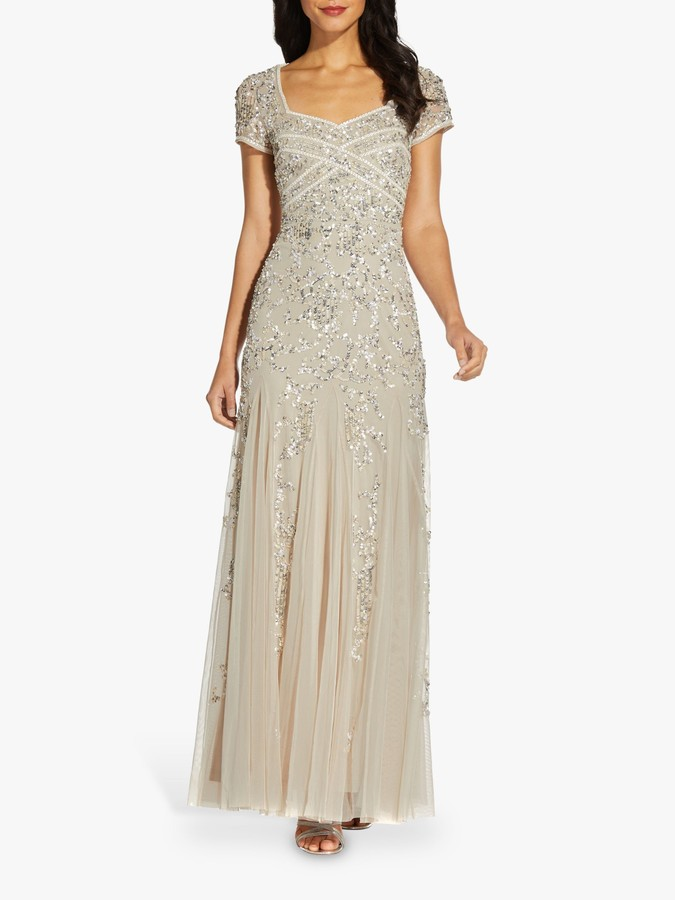Adrianna Papell Godet Beaded Maxi Gown, Biscotti