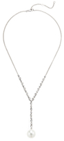 18K White Gold, South Sea Pearl & 1.65 Total Ct. Diamond Y Drop Necklace