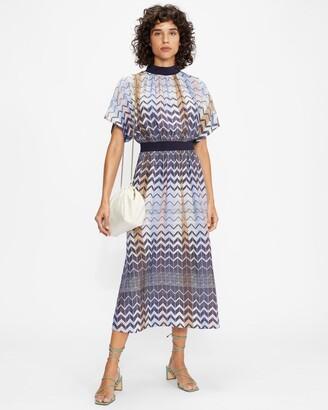 Ted Baker Geo Printed Rib Detail Midi Dress