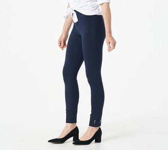 Susan Graver Petite Weekend Premium Stretch Smoothing Waist Leggings w/Trim