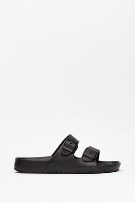 Nasty Gal Womens Walkin' My Way Faux Leather Buckle Sandals - Black - 4