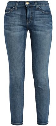 Current/Elliott The Stiletto Mid-rise Cropped Distressed Skinny Jeans