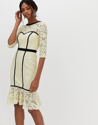 Paper Dolls structured lace midi dress