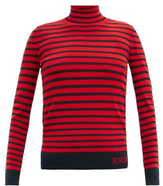 Moncler Lupetto Striped Jersey Roll-neck Sweater - Red Multi