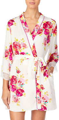 Kate Spade Floral Print Robe With Lace Cuffs
