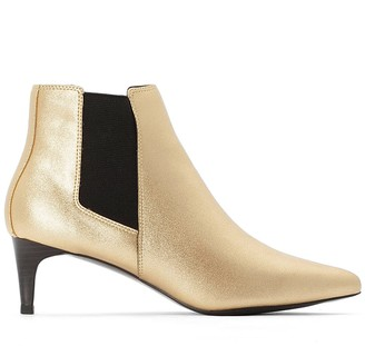 La Redoute Collections Metallic Ankle Boots with Pointed Toe and Stiletto Heel