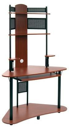 Calico Designs Element Corner Computer Tower With Hutch Black/Cherry
