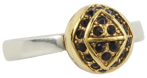 House Of Harlow Engraved Orb Ring (Palladium/Black) - Jewelry