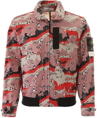Stone Island CAMOUFLAGE BOMBER JACKET L Pink, Red, Black Cotton