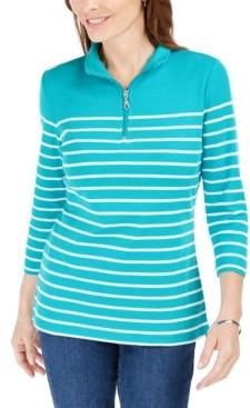 Karen Scott Striped Zip-Neck Top, In Regular and Petite, Created for Macy's