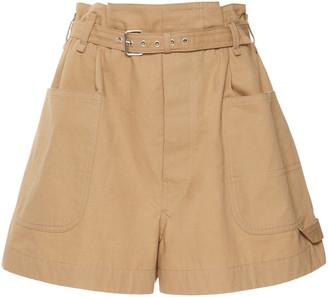 Isabel Marant Ike Belted Cotton-Gabardine Shorts