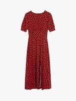 Oasis Large Heart Print Midi Dress, Red/Multi