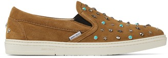 Jimmy Choo GROVE Sugar and Turquoise Suede Slip On Trainers with Stud Embellishment