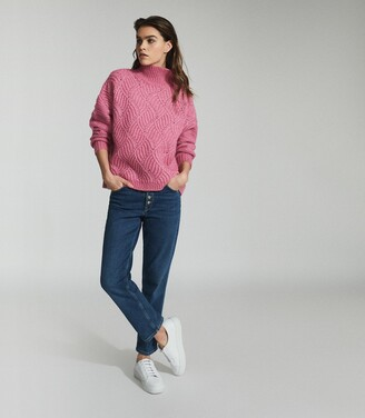 Reiss Ola - Oversized Cable Knit Jumper in Pink