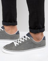 Pull&bear Perforated Trainers In Dark Grey