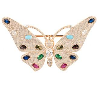 Latelita Butterfly Gemstone Brooch Rosegold
