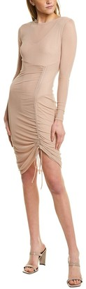 Bebe Ruched Mesh Mini Dress
