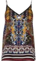 River Island Womens Yellow scarf print strappy cami top