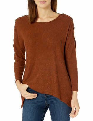 Amy Byer Women's Button Shoulder Sweater Top