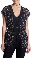 The Kooples Short Sleeve Lace Trim Cardigan
