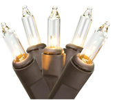 Asstd National Brand Set Of 50 Clear Mini Christmas Lights 2.5 Bulb Spacing with Brown Wire
