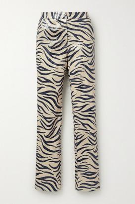 LAPOINTE - Zebra-print Sequined Woven Slim-leg Pants - Beige