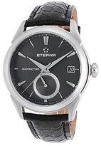 Eterna 7680-41-41-1175 Men's Soleure Auto Gmt Black Genuine Alligator Dark Dial Ss Watch
