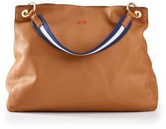 Mark & Graham Camel Handbag with Navy-White Twill Shoulder Strap Set