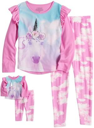 Cuddl Duds Girls 4-14 Print Pajama & Doll Pajama Set