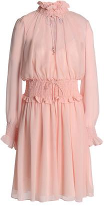 Mikael Aghal Shirred Chiffon Dress