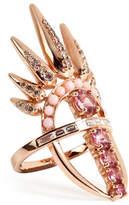 Nikos Koulis 18kt Pink Gold Spectrum Ring with Diamonds and Tourmaline