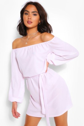 boohoo Off Shoulder Belted Shift Dress