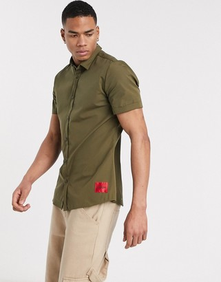 HUGO BOSS Empson-W short sleeve shirt in khaki