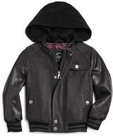 Urban Republic Boys' Wool & Faux Leather Varsity Jacket - Big Kid