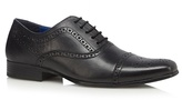 Red Tape Black Leather Seamed Toe Cap Brogues