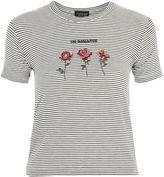 Topshop PETITE 'No Romance' Slogan Stripe T-Shirt