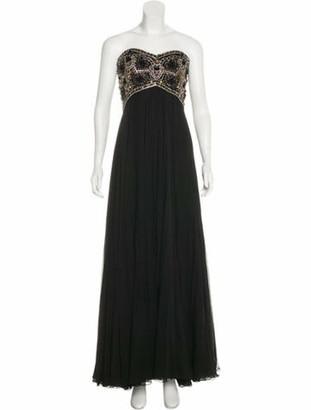Marchesa Embellished Silk Gown Black