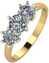 Moissanite 9ct Gold 1 Carat Trilogy Ring