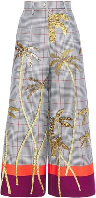 Stella Jean Cropped Printed Stretch-cotton Wide-leg Pants
