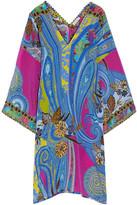 Etro Lace-trimmed Printed Silk Crepe De Chine Tunic - Blue