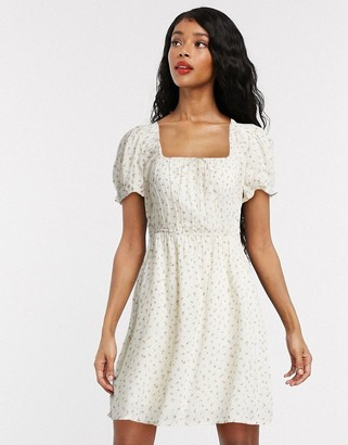Billabong All For Love ditsy floral cold shoulder dress in white