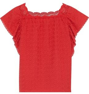Vanessa Bruno Lace-trimmed Ruffled Embroidered Cotton-gauze Top