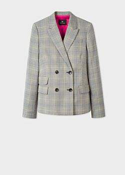 Women's Grey Check Wool Double-Breasted Blazer