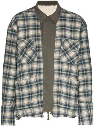 Greg Lauren Check-Pattern Buttoned Shirt Jacket