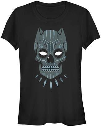 Fifth Sun Marvel Women Black Panther Sugar Skull Short Sleeve Tee Shirt