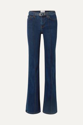 Current/Elliott The Admirer Belted High-rise Flared Jeans - Dark denim