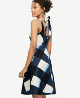 Ann Taylor Petite Gingham Tie Back Flare Dress